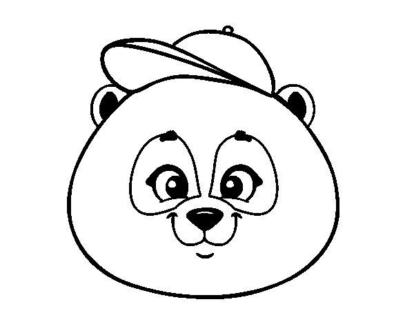 Disegno di Muso di orso panda con il berretto da Colorare