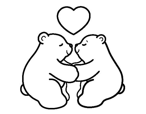 Disegno di Orsi polari amore da Colorare