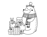 Disegno di Orso con i regali di Natale da colorare