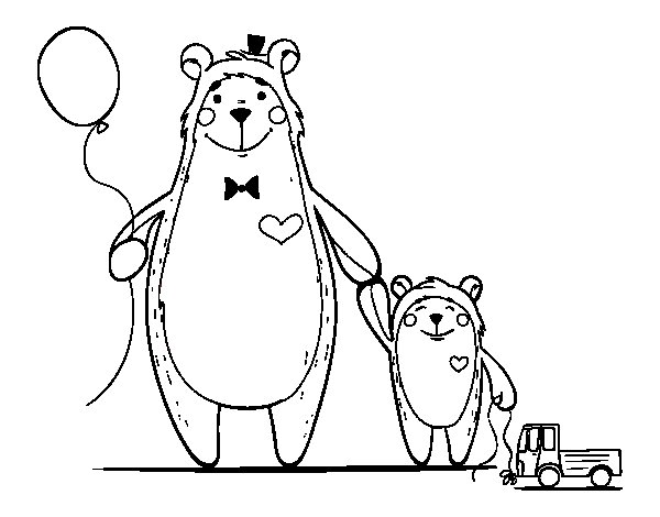 Disegno di orso e orsacchiotto da colorare - Orsacchiotto da colorare in ...