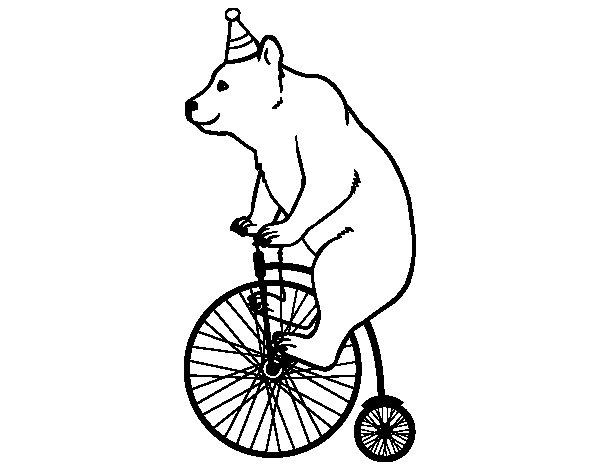 Disegno di Orso in bicicletta da Colorare