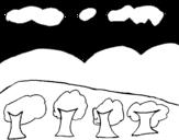 Disegno di Paesaggio con montagna da colorare