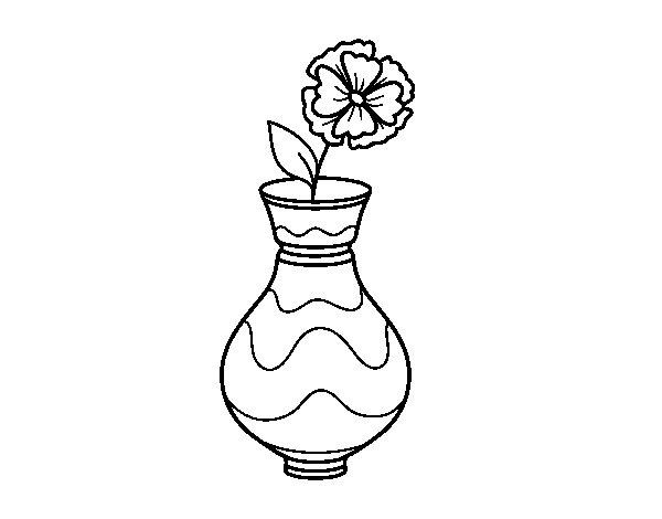 Disegno di Papavero con vaso da Colorare