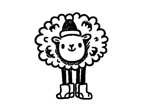 Disegno di Pecora de Natale da Colorare
