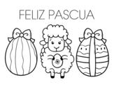 Disegno di Piccola pecora con le uova di Pasqua da colorare
