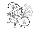 Dibujo de Piccola strega con pozione