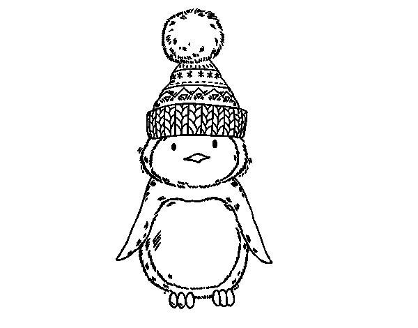 Disegno di Pinguino con cappello di inverno da Colorare