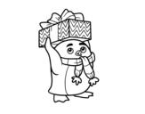 Disegno di Pinguino con il regalo di Natale da colorare
