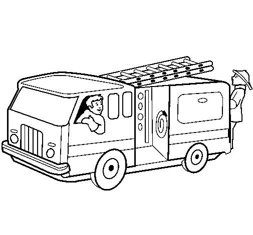 Disegno di Pompieri sul camion  da Colorare