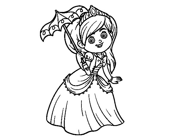 Disegno di Principessa con parasole da Colorare
