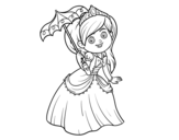 Dibujo de Principessa con parasole
