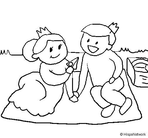 Disegno di Principi in un picnic  da Colorare