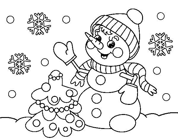Disegno di pupazzo di neve cartolina di natale da colorare - Pupazzo di neve pagine da colorare ...