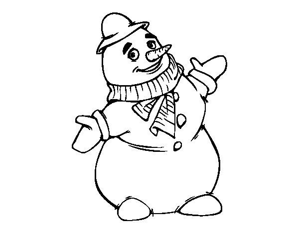 Disegno di pupazzo di neve sorridente da colorare - Pupazzo di neve pagine da colorare ...