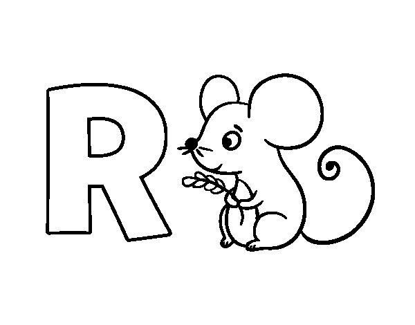 Disegno di R di Ratto da Colorare
