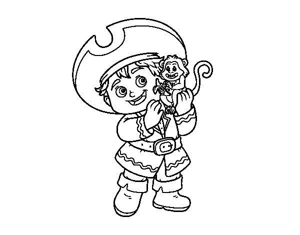 Disegno di Ragazzo pirata e la sua scimmia da Colorare