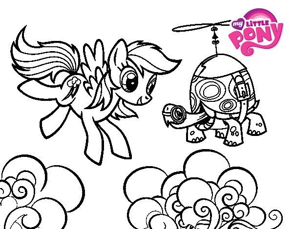 Disegno di Rainbow Dash and Tank Turtle da Colorare
