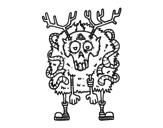 Disegno di Renna zombie da colorare