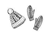 Disegno di Set di guanti e cappello da colorare