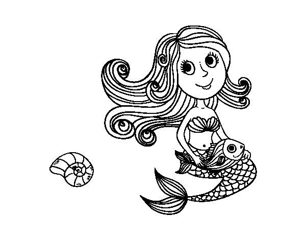 Disegno di sirena e il suo pesce da colorare - Sirena libro da colorare ...