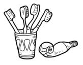 Disegno di Spazzolini da denti e dentifricio da colorare