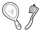 Disegno di  Specchio e spazzolino da denti da colorare