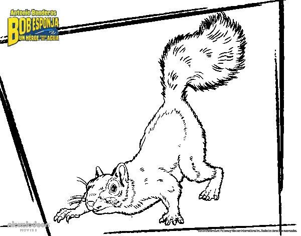 Disegno di SpongeBob - Sandy Scoiattolo per l'attacco da Colorare