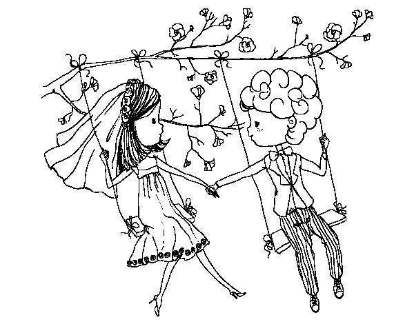 Disegno di  Sposato su un altalena da Colorare