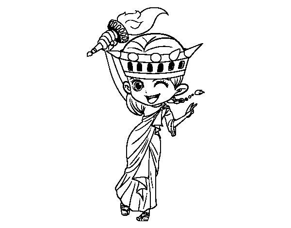 Disegno di Statua della libertà manga da Colorare