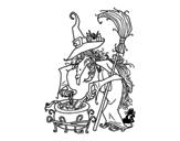 Disegno di Strega con pozione magica da colorare
