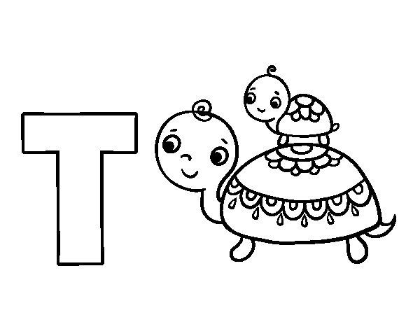 Disegno di T di Tartaruga da Colorare