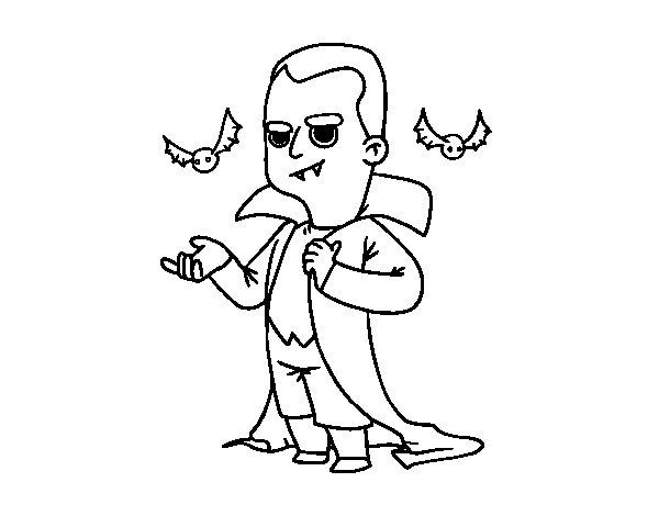 Disegno di Travestimento da vampiro di Halloween da Colorare