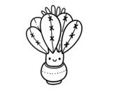 Disegno di Un cactus con fiore da colorare