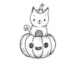 Disegno di Un gattino di Halloween da colorare
