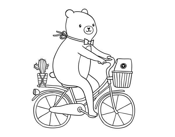 Disegno di Un orso in bicicletta da Colorare