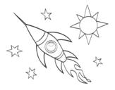 Disegno di Un razzo aerospaziale da colorare