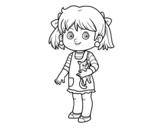 Disegno di Una bambina con gattino da colorare