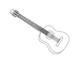 Disegno di Una chitarra spagnola da colorare
