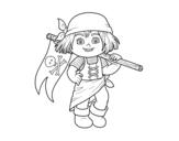 Disegno di Una ragazza pirata da colorare