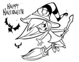 Disegno di Una strega di Halloween da colorare