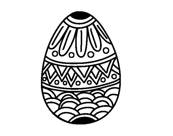 Disegno di Uovo di Pasqua decorato con stampaggio da Colorare