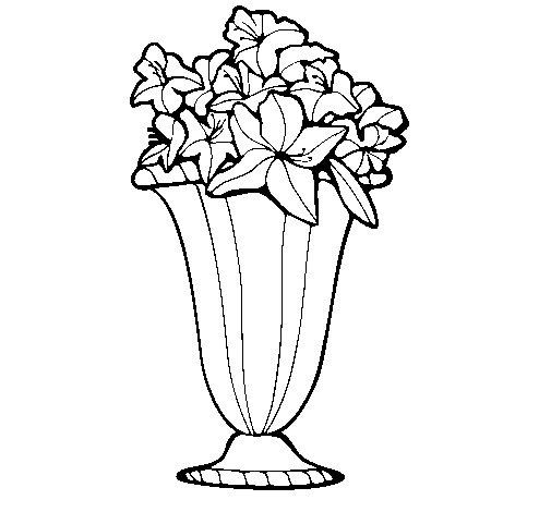 Disegno di vaso di fiori 2a da colorare for Vaso di fiori disegno
