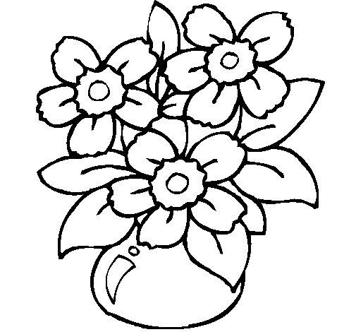 Disegno di vaso di fiori da colorare for Disegni fiori da colorare