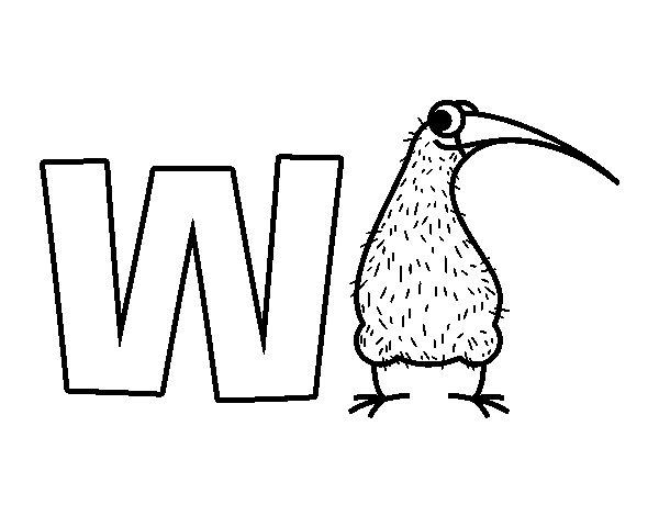 Disegno di W di Kiwi da Colorare