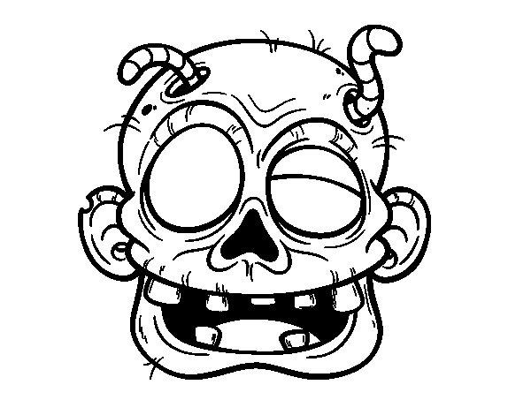 Disegno di Zombie con il vermiciattoli da Colorare
