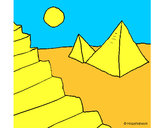 Disegno Piramidi pitturato su cadriana