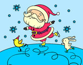 Disegno Babbo Natale pattinatrice pitturato su ALESSAN