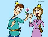 Disegno Principe con un fiore  pitturato su Bianca03