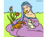 Disegno Principessa del bosco  pitturato su Bianca03