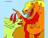 Disegno Lotta di dinosauri  pitturato su dieguito